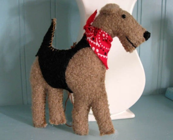 Airedale Terrier Wool Dog Friend \/ Ornament, Handsewn, 2-sided