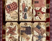 Primitive Americana Grungy Teastained Olde Glory Tags Digital  Printable INSTANT DOWNLOAD