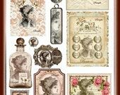 Altered Art Victorian Lady Collage Sheet with Tag, Postcard, Button Card U-PRINT