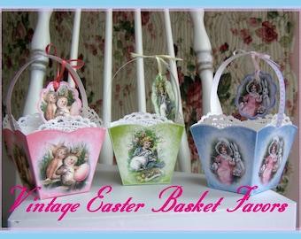 Vintage Easter Basket PRINTABLE  Party Favors Set with Crafting Directions INSTANT DOWNLOAD Digital