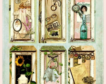 Altered Art Pieces of the Past Tags Digital Printable INSTANT DOWNLOAD