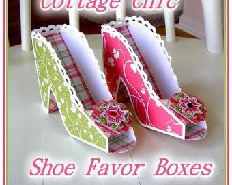 Cottage Chic High Heel Shoe Gift Favor Boxes Kit with Directions U-PRINT Digital  INSTANT DOWNLOAD