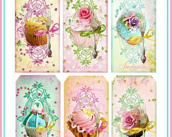 INSTANT DOWNLOAD Cottage Chic Cupcake Tags Digital U-PRINT Pastel Bling Backgrounds