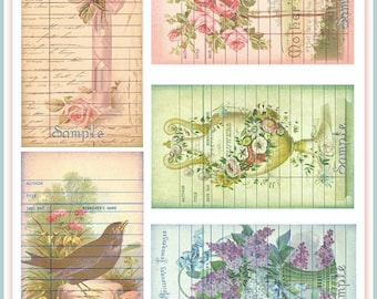 INSTANT DOWNLOAD Vintage Ephemera Library Card Tags with Antique Floral Postcard Backgrounds U-PRINT Digital