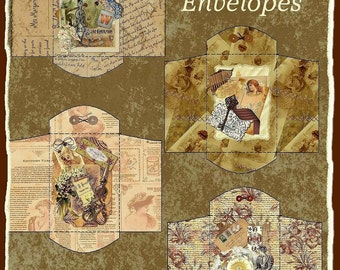 Altered Art Vintage Collage Coin Envelopes in 3 Sizes Digital Printable INSTANT DOWNLOAD