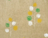 Leafy Trees Japanese Fabric - green, yellow, white