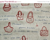 Japanese Fabric Lecien Atelier Akiko Bags Fat Quarter - red and blue on natural