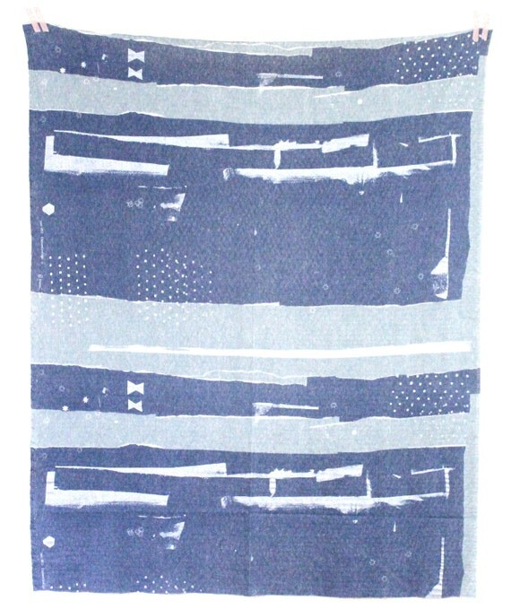 Nani Iro Element Collage Knit Japanese Fabric - umiboshi - blue