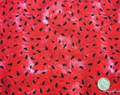 One Yard Cut Quilt Fabric, Red Juicy Watermelon & Watermelon Seeds from Timeless Treasures Fabric, Sewing, Quilting and Craft Supplies