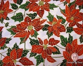 One fat Quarter Cut Quilt Fabric, Christmas, Red Poinsettia, Green Leaves on Cream, Sewing-Quilting-Craft Supplies