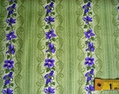 One Yard Cut Quilt Fabric, Purple Violets on green Leaf Stripes on a Green Background from RJR Fabrics, Quilting and Sewing Supplies