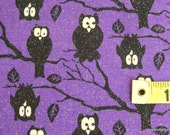 One Yard Cut Quilt Fabric, Halloween, Night Owls on Branches on Purple & Glitter as Reflecting Moon Light, Quilting, Sewing Supplies