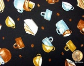One Yard Cut Quilt Fabric, Coffee Mugs, Cups, Beans, Brown, Tan & Blue on Black from Timeless Treasures, Sewing, Quilting, Craft Supplies