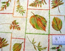 One Fat Quarter Cut Quilt Fabric, Autumn Leaves and Ferns Framed/Outlined Individually, Green & Rust on Cream, Sewing and Quilting Supplies