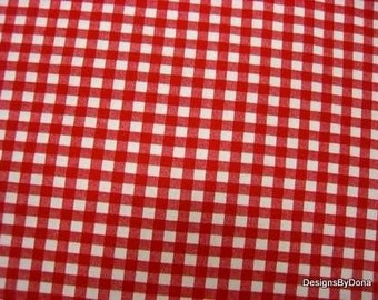 One Yard Cut of Quilt Fabric, Red and White Gingham Print, One Forth Inch Pattern, Calico, Needlecraft, Sewing, Quilting & Craft Supplies