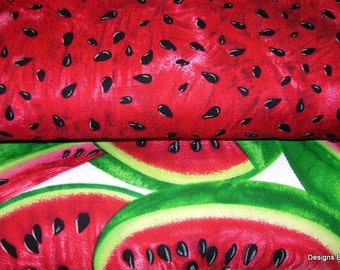 Half Yard Two Piece Bundle Quilt Fabric, Watermelon Slices on White/Watermelon Seeds, Timeless Treasures, Sewing-Quilting- Craft Supplies