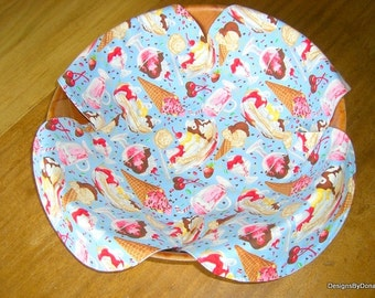 Basket Liner, Bread Cloth, Table Topper, Ice Cream, Chocolate Dipped Cherries, Strawberries on light blue blue, Handmade Table Linens