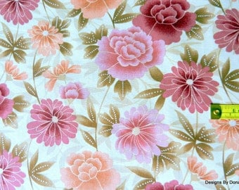 SALE One Fat Quarter Cut Quilt Fabric, Muted Light-Dark Pink & Peach Flowers, Brown Leaves,Andover, Sewing, Quilting-Sewing-Craft Supplies