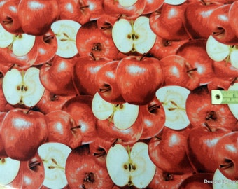 "One Yard Cut of Quilt Fabric, Red Apples, Some Whole Some Cut in Half ""Farmers Market"" from RJR Fabrics, Sewing, Quilting & Craft Supplies"
