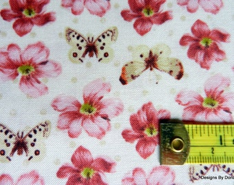 "One Yard Cut Quilt Fabric, ""Love and Kisses"", Small Pink, Bugrundy Flowers, Butterflies, Windham Fabrics, Quilting-Sewing-Craft Supplies"