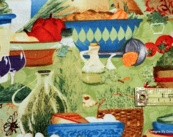 Clearance, One Yard Cut Quilt Fabric, Italian Kitchen Potpourri Pattern, Italian Cook's Kitchen,Grace Pullen, SSI Fabric, Sewing Supplies