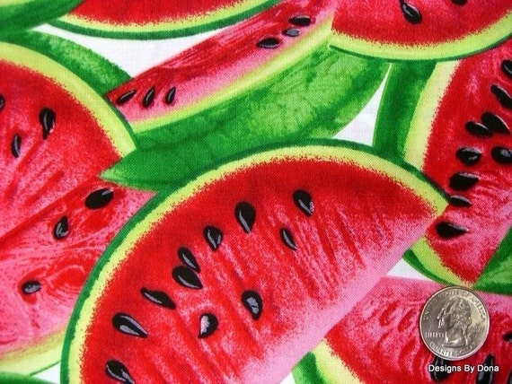 One Yard Cut Quilt Fabric, Red Ripe Juicy Watermelon Slices on White, All Over Pattern, Timeless Treasures, Sewing, Quilting, Craft Supplies
