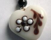 Heart shaped lampwork earrings