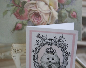 Handmade Kitty/Cat Cards/Whimsical/Glamour/Sparkly/Pretty In Pink/Crowns