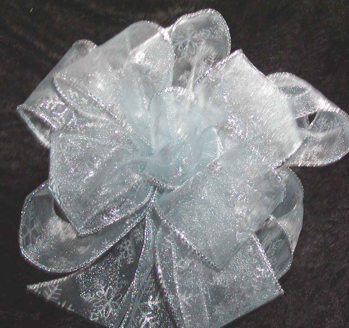 Light Blue Ribbon with Sparkling Silver Snowflakes Bow for a Tree Topper, Package, Wreath