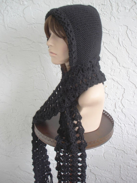 Knitting Pattern For Hat With Scarf Attached : hand knit hood scarf hat hand crochet wool attached by annmag
