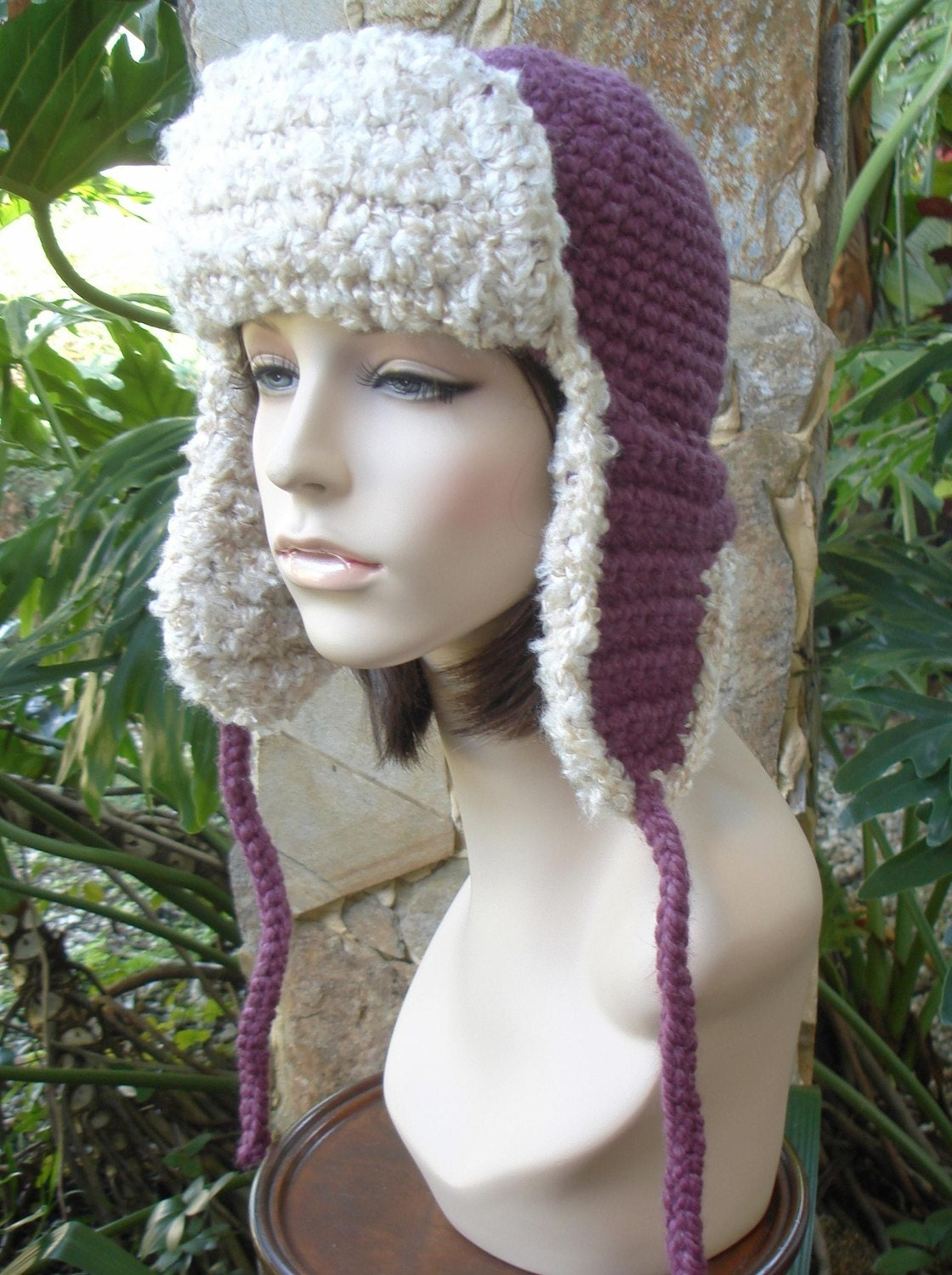 hand crochet russian trapper bomber aviator Hat fig by annmag