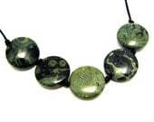 Green and Black Kambaba Jasper Coin Necklace