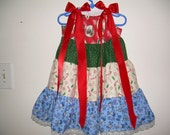 Vintage look fabric Layered Christmas dress with Lace trim and ribbons size 2-3 T