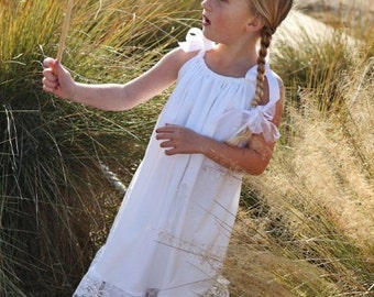 White Beach portrait set dress -top capris with lace sizes 1 to 12 girls