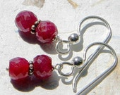 Ruby and Sterling Silver Earrings