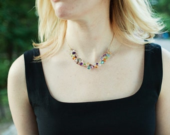 Semi-precious Multi Gemstone Necklace with 14k Goldfill Chain from Luxe Collection