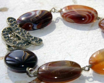 Agate and Sterling Silver Wire Wrapped Bracelet