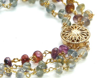 Triple Strand Sapphire Bracelet - Pinks, Blues, Grays with 14k GF Flower Box Clasp