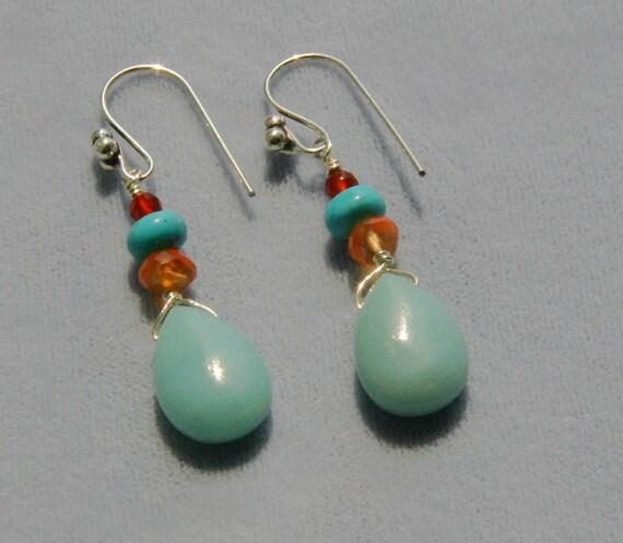 CLEARANCE SALE Amazonite, Turquoise and Carnelian Earrings