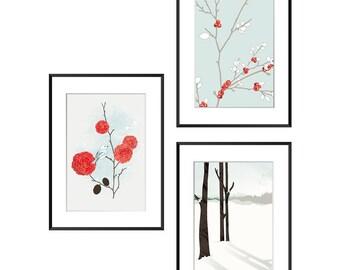 Set of 3 ( 4 x 6 ) Prints - Little Snow Bird, Winter Berries, Woodland