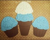 3 Piece CUPCAKES - ICE CREAM CONE Fancy Embellishments BLUE and CREAM