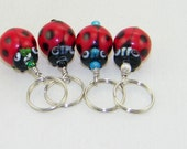 4 Lampwork ladybug stitch markers for knitting