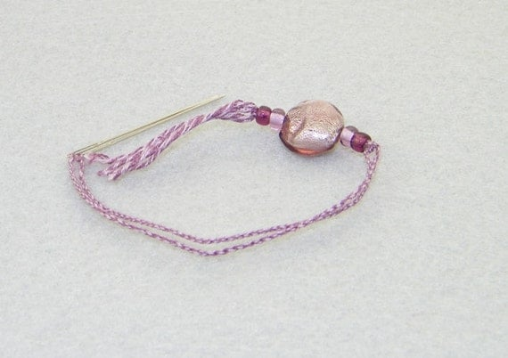 Holiday Sale -Amethyst lampwork foil count keeper handmade needlework tool