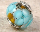 Reserved for sedesigns  - WG - Brown and Aqua floral- lampwork bead focal