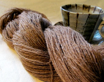 Extra fine, hand spun, lace weight yarn - perfect for wedding ring shawl - natural brown Shetland wool