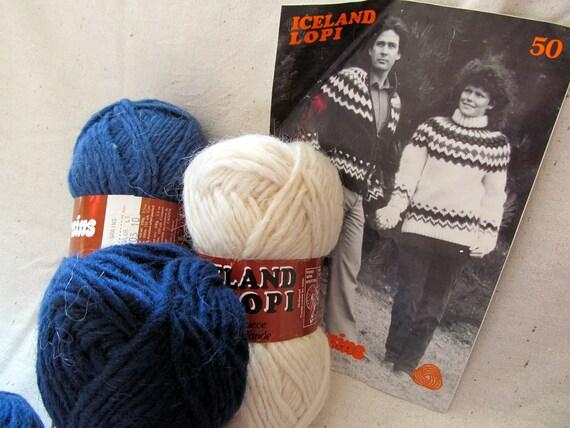 ON HOLD for Karen - SALE - Vintage Iceland Lopi Sweater Kit - yarn and pattern - for knitting
