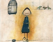 girl with birdcage