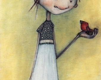 girl with bird and red shoes print