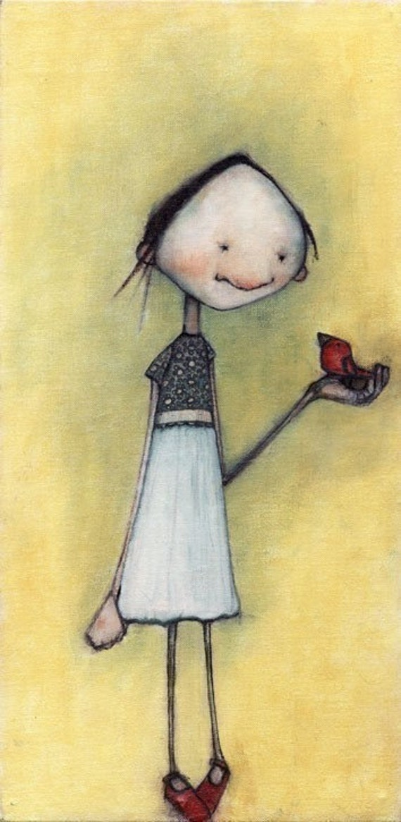 girl with bird and red shoes