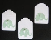 50 White Tags with Lt. Green Elephants Price Tags  Gift Tags